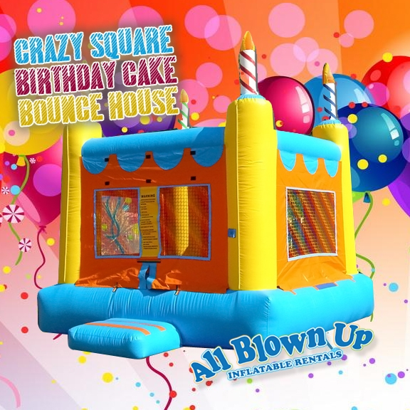 Evansville, IN and Owensboro, KY area kids birthday party Crazy Square Birthday Cake Bounce House