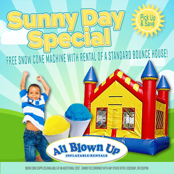 sunny day special, sunny day, snow cone machine, snow cone, brinka, inflatable, rental, party, bbq, summer, fun, backyard, birthday, family, reunion, carnival