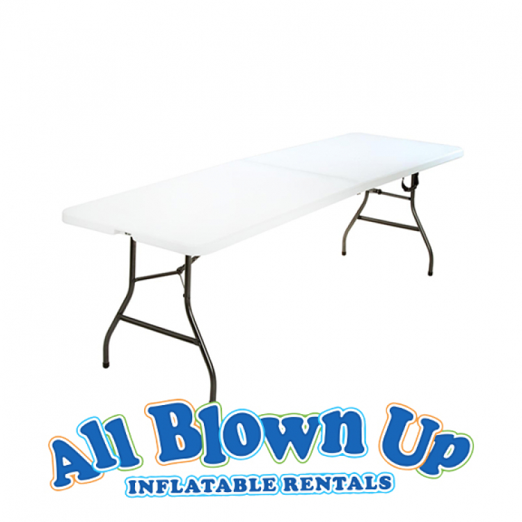 8' White Folding Table