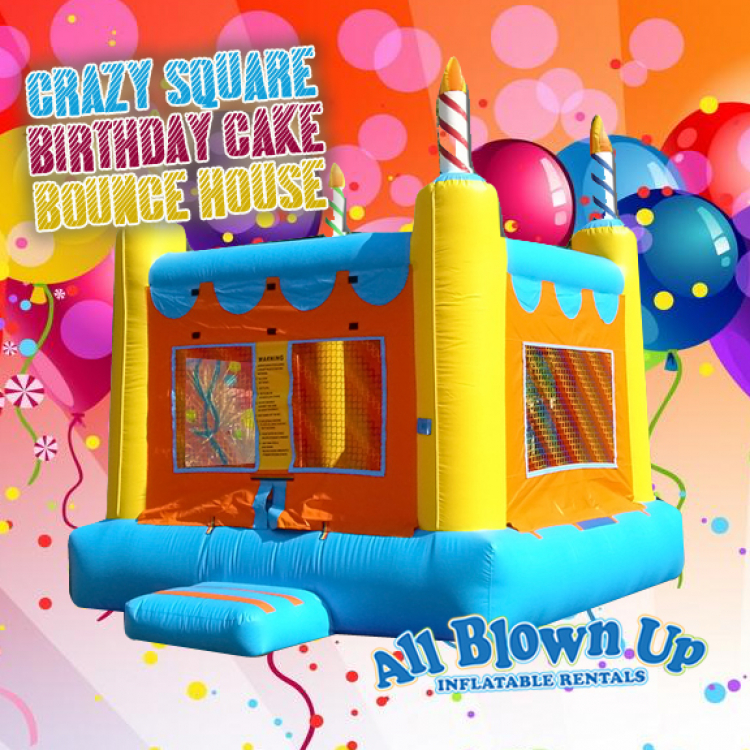 Crazy Square Birthday Cake Bounce House